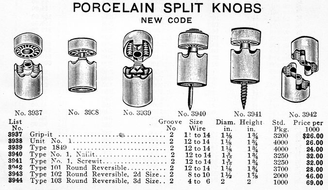 nail knobs  split knobs and other house wiring knob insulators